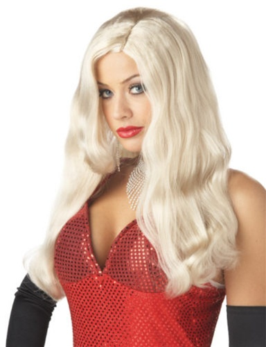 Long Platinum White Movie Starlet Wig