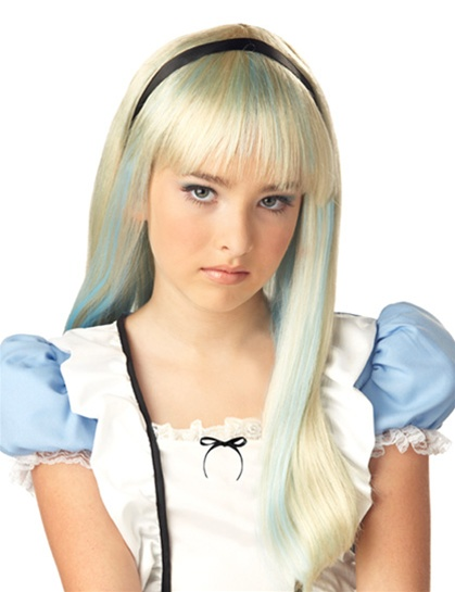 Blonde with Blue Highlights Childs Wig - Alice in Wonderland