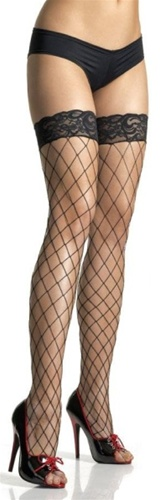 Black Lace Top Fence Net Thigh High Stockings