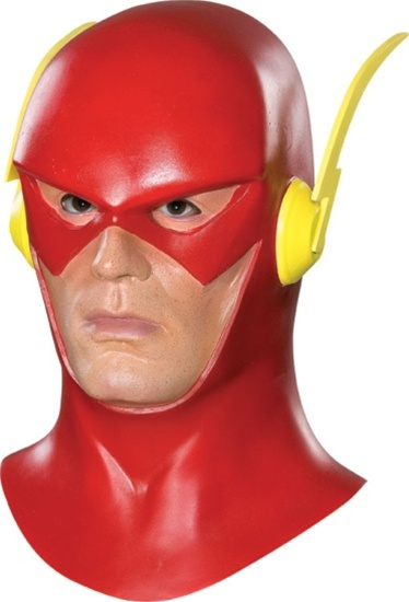 Description: Licensed DC Comics item. The Flash adult latex mask with cowl.